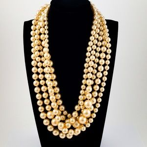J. Crew Twisted Hammock Pearl Necklace Champagne